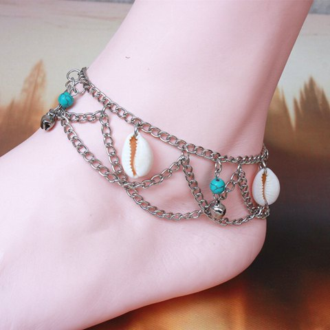 Online Multilayer Shell Bell Hippie Traditional Anklets COLORMIX