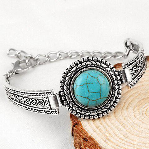 Shops Vintage Faux Turquoise Embossed Alloy Bracelet - SILVER  Mobile