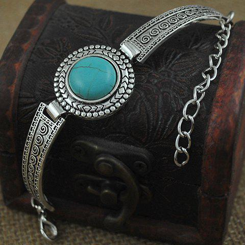 Latest Vintage Faux Turquoise Embossed Alloy Bracelet - SILVER  Mobile