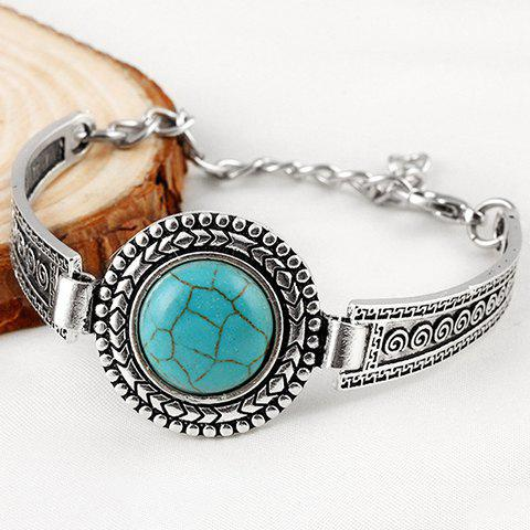 Best Vintage Faux Turquoise Embossed Alloy Bracelet - SILVER  Mobile