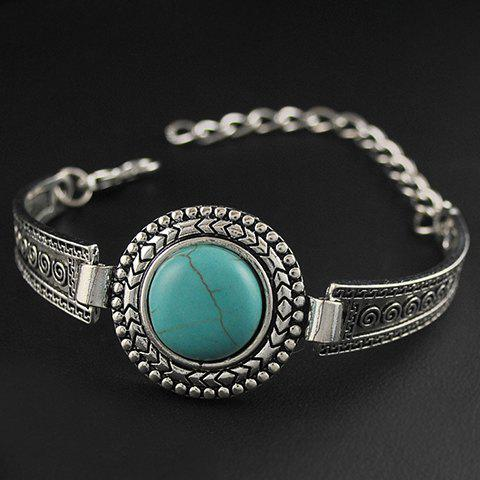 Outfit Vintage Faux Turquoise Embossed Alloy Bracelet - SILVER  Mobile