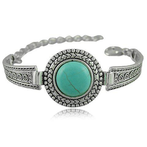 Outfits Vintage Faux Turquoise Embossed Alloy Bracelet SILVER