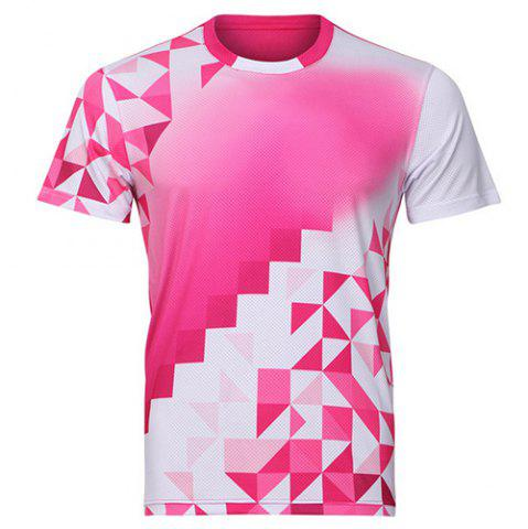Latest Men's Round Collar Badminton Training Quick Dry T-Shirt ROSE M