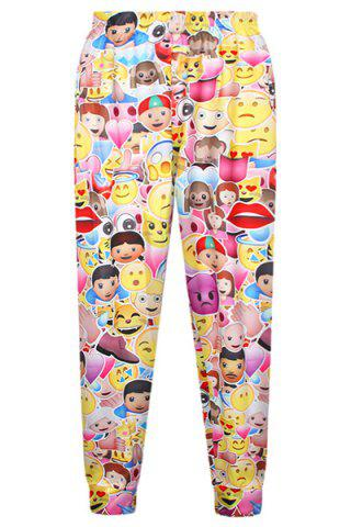 Discount Colorful Elastic Waist Emjoy Print Pants For Women
