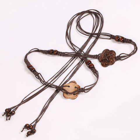 Fancy Chic Wooden Beads Flower Decorated Handmade Knitted Waist Belt For Women - COFFEE  Mobile