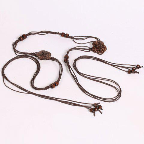 Fashion Chic Wooden Beads Flower Decorated Handmade Knitted Waist Belt For Women - COFFEE  Mobile