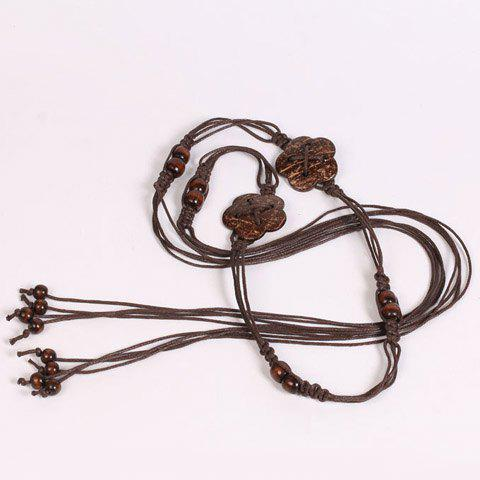 Shops Chic Wooden Beads Flower Decorated Handmade Knitted Waist Belt For Women - COFFEE  Mobile