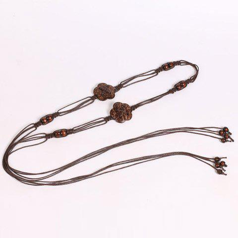Sale Chic Wooden Beads Flower Decorated Handmade Knitted Waist Belt For Women - COFFEE  Mobile