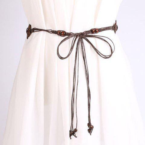 Shop Chic Wooden Beads Flower Decorated Handmade Knitted Waist Belt For Women - COFFEE  Mobile