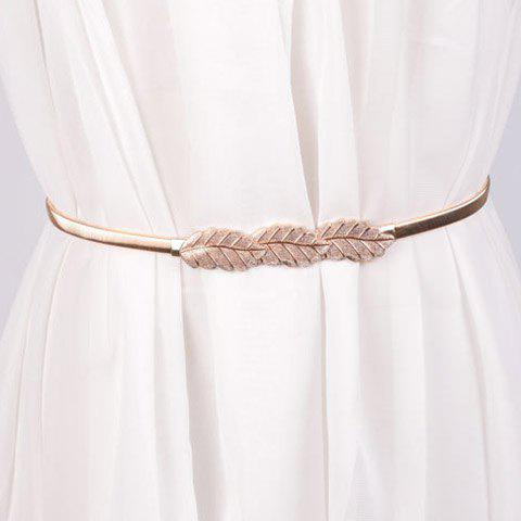 Store Chic Leaf Shape Buckle Alloy Elastic Waist Belt For Women