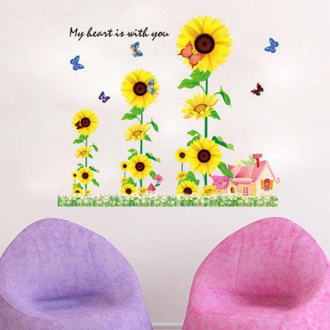 Sale Chic Sunflowers House Pattern Wall Sticker For Bedroom Livingroom Decoration COLORMIX
