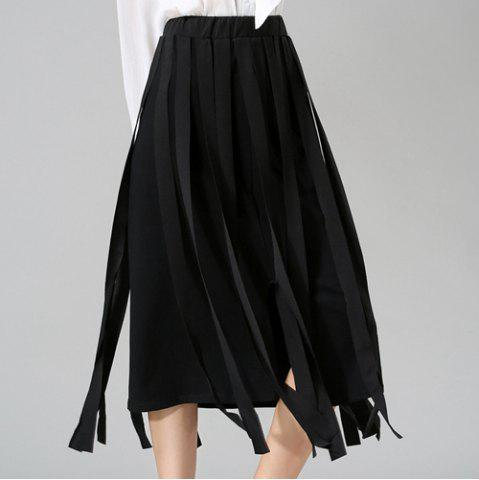Outfits Stunning Elastic Waist Solid Color Midi Skirt For Women