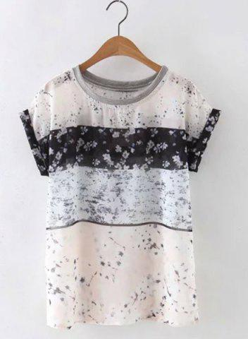 Shop Cute Round Neck Short Sleeves Floral Print Women's Blouse