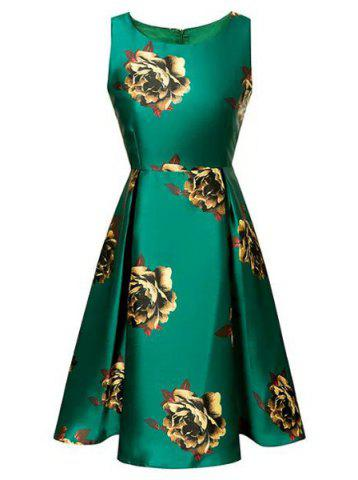 Best Vintage SFloral Print Skater Dress GREEN S