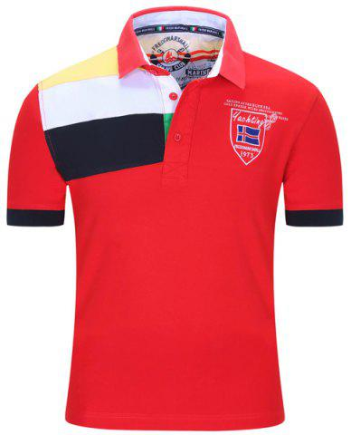 Trendy Turn-Down Collar Badge Embroidered Color Block Stripe Short Sleeve Polo T-Shirt For Men