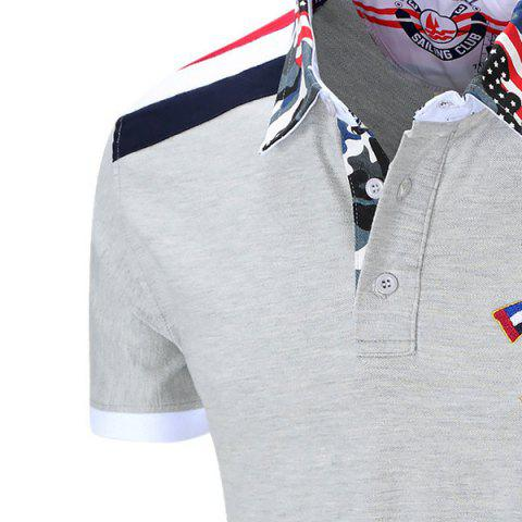 Outfit Turn-Down Collar Badge Embroidered Camouflage Spliced Short Sleeve Polo T-Shirt For Men - L GRAY Mobile