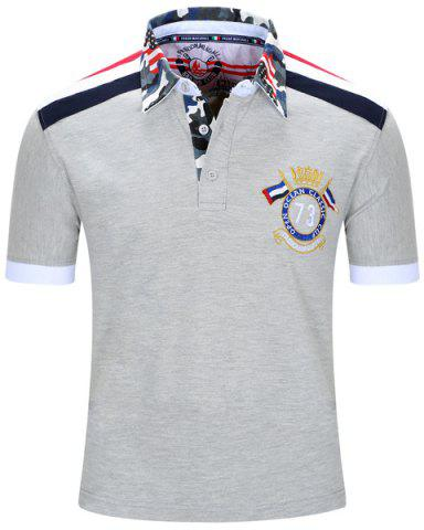 Fancy Turn-Down Collar Badge Embroidered Camouflage Spliced Short Sleeve Polo T-Shirt For Men - L GRAY Mobile
