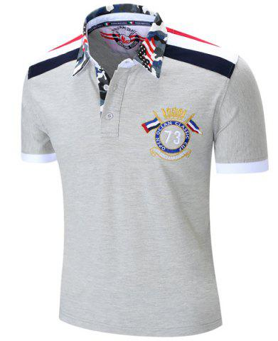 Trendy Turn-Down Collar Badge Embroidered Camouflage Spliced Short Sleeve Polo T-Shirt For Men - L GRAY Mobile