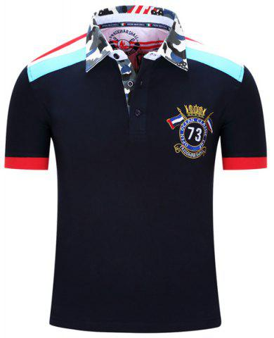 Shops Turn-Down Collar Badge Embroidered Camouflage Spliced Short Sleeve Polo T-Shirt For Men