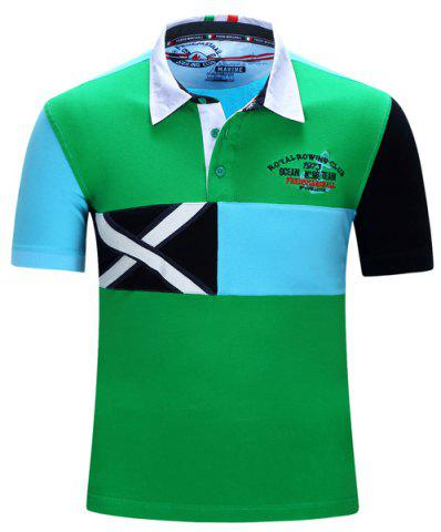 Turn-Down Collar Letters Embroidered Color Block Spliced Short Sleeve T-Shirt Men - Xl GREEN