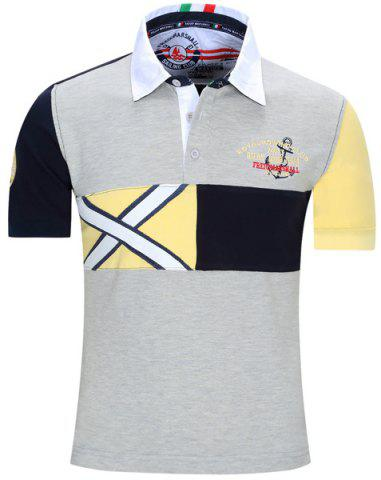 Buy Turn-Down Collar Letters Embroidered Color Block Spliced Short Sleeve Polo T-Shirt For Men GRAY XL