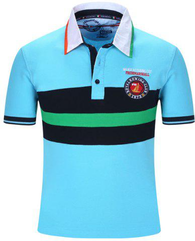 Fashion Turn-Down Collar Embroidered Color Block Stripe Short Sleeve Polo T-Shirt For Men LIGHT BLUE M
