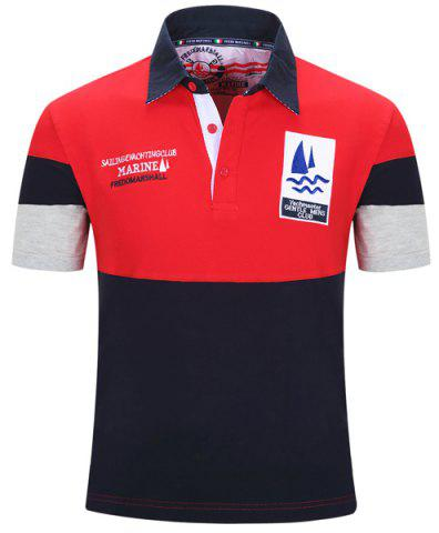 Turn-Down Collar Letters Sailing Embroidered Color Block Spliced Short Sleeve Polo T-Shirt For Men - Red - Xl