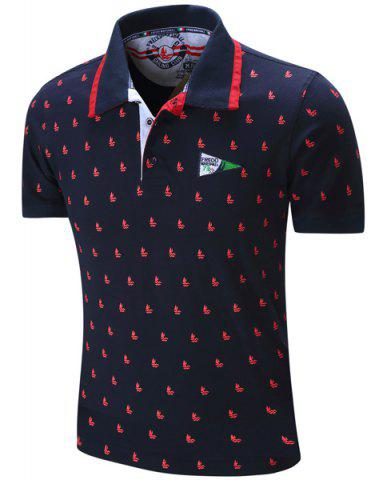 Store Turn-Down Collar Sailing Print Embroidered Polo T-Shirt