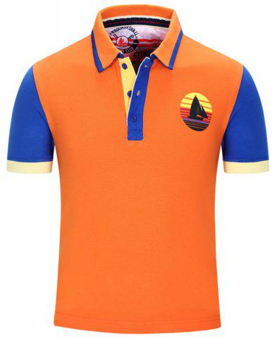 Turn-Down Collar Sailing Print Color Block Stripe Short Sleeve Polo T-Shirt For Men - Orange - Xl