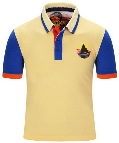 Store Turn-Down Collar Sailing Print Color Block Stripe Short Sleeve Polo T-Shirt For Men YELLOW M