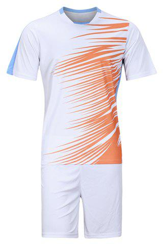 Shops Men's Hot Sale Sports Style Football Training Jersey Set (T-Shirt+Shorts) WHITE M