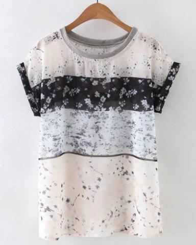 Chic Round Collar Tiny Floral Print Loose Women's T-Shirt - Colormix - M