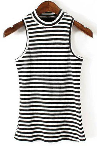 Fancy Stylish Round Neck Sleeveless Striped Print Women's Fitted Tank Top