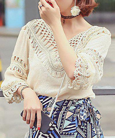 Cheap Bohemian Style V Neck 3/4 Length Sleeves Hollow Out Tassel Blouse For Women