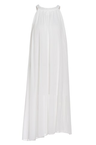 Affordable Bohemian Scoop Collar Sleeveless Solid Color Chiffon Women's Dress