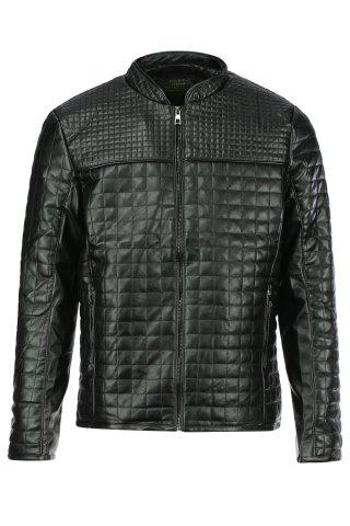 Slimming Checked Stand Collar Long Sleeve PU-Leather Men's Jacket