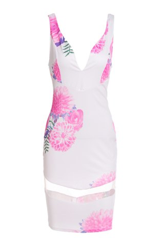 Outfit Stylish Plunging Neckline Printed Mesh Splicing Dress For Women