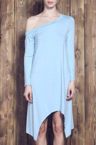 Sale Sweet Candy Color Skew Collar Long Sleeve Asymmetric Dress For Women LIGHT BLUE L