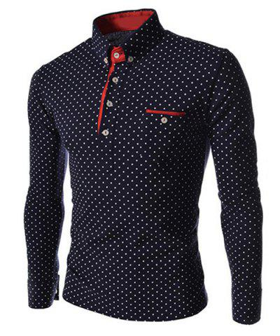 Affordable Polka Dot Print Long Sleeves Polo Shirt CADETBLUE XL