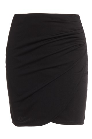 Discount Trendy Solid Color Bodycon Wraparound Skirt For Women