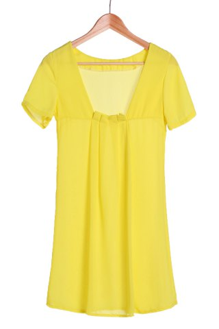 Chic Sexy Round Collar Solid Color Backless Short Sleeve Dress For Women LEMON YELLOW S