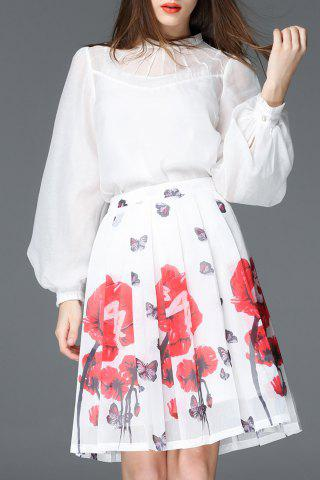 New Floral Printed High Waist Skirt