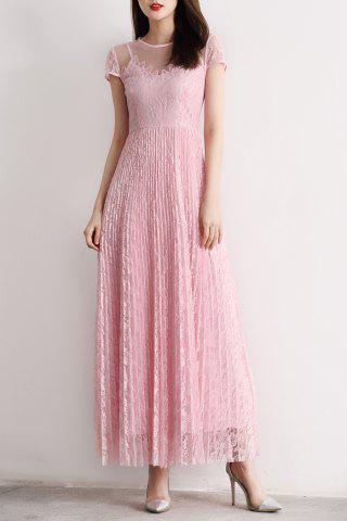 Best Sheer Lace Maxi Pleated Dress PINK L