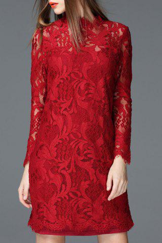 Discount Solid Color Sheath Lace Dress