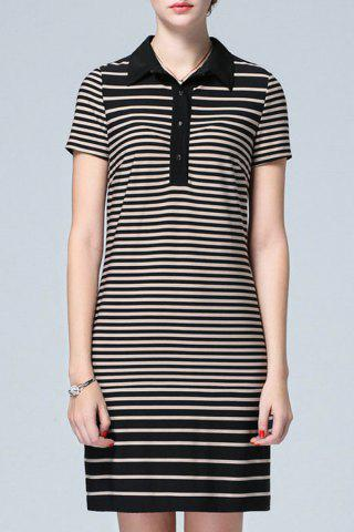 Outfits Striped Polo Collar Dress