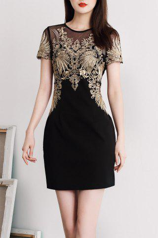 Buy Round Collar Embroidered Mini Bodycon Dress