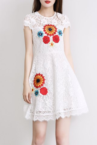 New Flower Embroidered Beaded Lace Dress