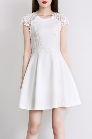 Outfits Round Collar Embroidery Solid Color Dress