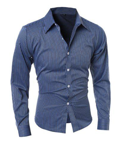 Chic Vogue Shirt Collar Vertical Stripe Slimming Long Sleeve Polyester Casual Shirt For Men DEEP BLUE M