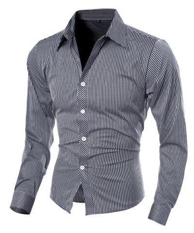 Sale Vogue Shirt Collar Vertical Stripe Slimming Long Sleeve Polyester Casual Shirt For Men - XL BLACK Mobile